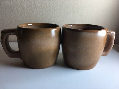 Frankoma Brown Plainsman 5C Coffee Mugs Set Of 2