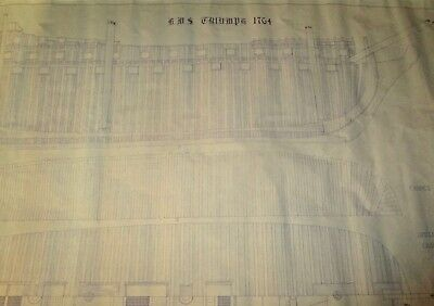 Blueprint of HMS Triumph 1764 made by Robin L. Rielly, Yacht Designs in 1978.