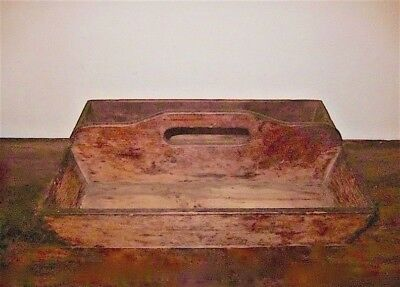 Antique Estate 18C? 19C Handcraft WOODEN handle CARRIER handsawn dovetail joints