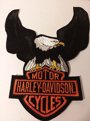 Vintage Harley Davidson Black Up Wing Eagle Patch Bar & Shield 13""