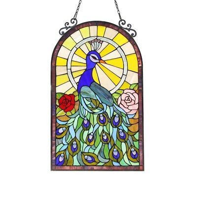 """Stained Glass Peacock & Roses Window Panel Handcrafted Tiffany Style  20"""" x 32"""""""