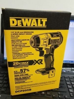 DEWALT DCF895 20V Lithium Ion Brushless 3-Speed 1/4-Inch Impact Driver 100%NEW!