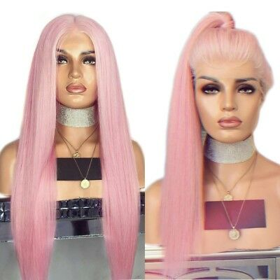"24"" Light Pink Silky Straight Synthetic Hair Cosplay Lace Front Wig Handtied"