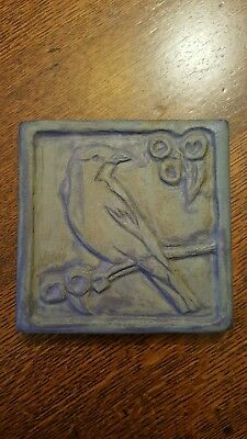 Crow Raised Relief Arts and Crafts Mission Style Art Pottery Tile