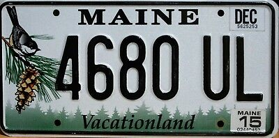 "USA Number Licence Plate MAINE ""VACATIONLAND"" CHICKADEE"