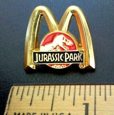 Vintage Jurassic Park Mcdonalds Gold Tone T-Rex Arches Employee  Pin