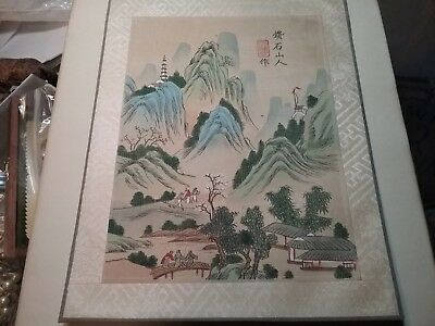 Original Vintage 7x9 Signed Japanese Batik/Cloth Landscape Painting