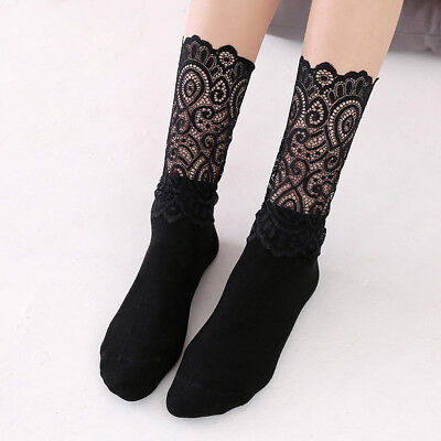 3 Pairs Lady Girls Socks Hollow Lace Spliced High Ankle Solid Socks Fashion Soft