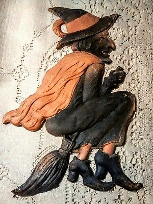 RARE Vintage German Halloween Diecut Witch flying broom Embossed 1920s Germany