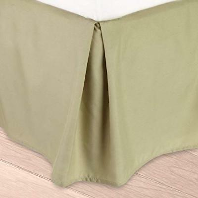 Clara Clark Collection Solid Bed Skirt Dust Ruffle, verde salvia, king (k7Q)
