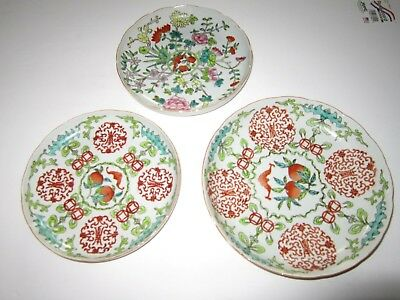 Vintage Lot of 3 Chinese Asian Stamped Bowls Dishes