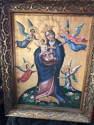 antique renaissance Church Religious 17th-18th Century Madonna &Child Painting.