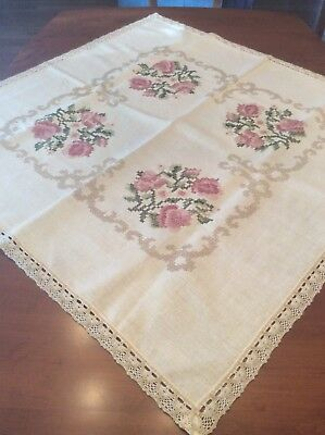 """Vintage Beige Hand Embroidered CROSS STITCH Small Card Tablecloth 40"""" X 40"""