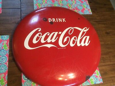 Coca Cola Porcelain Button Sign 24 inch - Country Store - Advertising