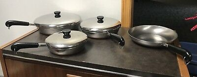 Vintage Revere Ware Copper Bottom Skillet Set -- Lot of 7 Pieces