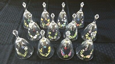Avon Crystal Birthday Bells with Birthstones and Flowers Set of 12
