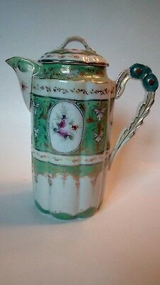 Beautiful Paneled Chocolate Pot. Green & White Gold Trim. Floral Exc. Cond.