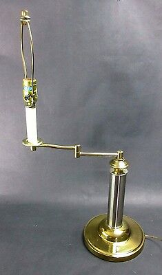 Vintage Alsy 27 Brass Swing Arm Table Lamp 3 Way Switch Works