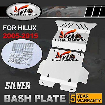 Steel Silver Bash Plate for Toyota Hilux 2005-2015 Front Sump Guard Protect 3mm