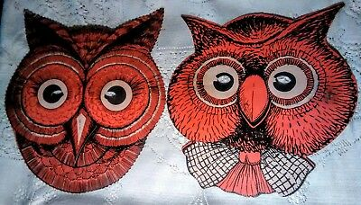 Vintage Halloween Beistle Owl Masks Mr & Mrs Hoot Great condition 30's to 40's