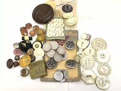 Vintage and Antique Button Lot Retro Mother of Pearl Set Mixed Types Colors