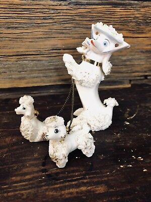 """Vintage """" Spaghetti """" Poodle Mom With Two Puppies On Chain Cute Hat Ornate"""