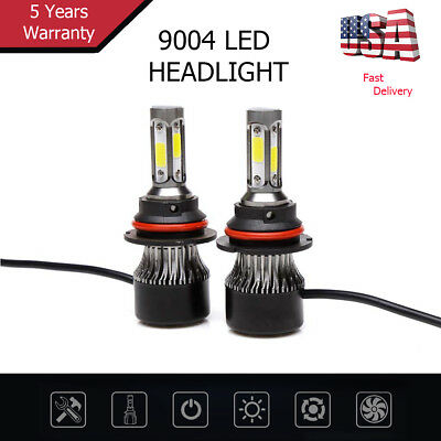 2pcs 9004 Car Headlight Fog Light COB 72W 7600LM Hi-Lo Beam 6000k White Light