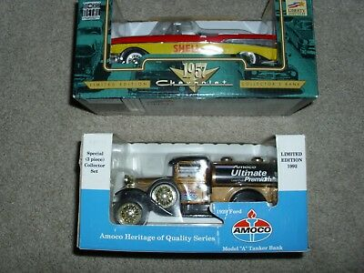 Ford 1929 Amoco Tanker Bank  + Chevrolet 1957 Collectors Bank. New, Free Shippin