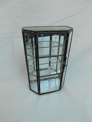 """Etched Glass And Brass Display Case 7"""" Tall"""