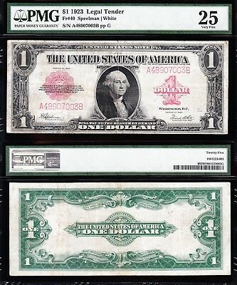 VERY NICE Bold & Crisp VF+ 1923 $1 RED SEAL US Note! FREE SHIP! PMG 25 A48907003