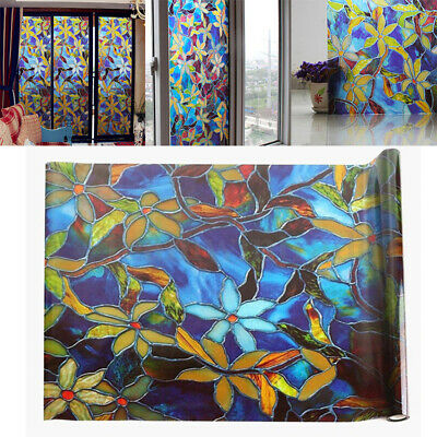 Static Cling Frosted Stained  Flower Glass Window Film Sticker Home Decor Kawaii