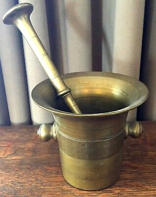 ANTIQUE 18th / 19th CENTURY BRONZE BRASS MORTAR WITH PESTLE