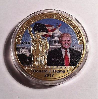 2017 Donald J. Trump 45Th President of USA Coin, 999 24k Gold Plated in Capsule