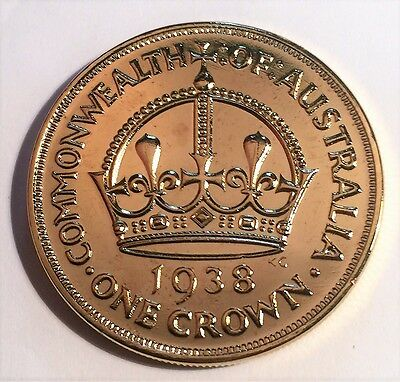 1938 Crown Fantasy/Token Coin 999 24k Gold Plated in Acrylic Capsule.