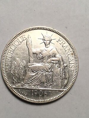 1906-A French Indo-China 1 Piastre Silver coin- Vietnam
