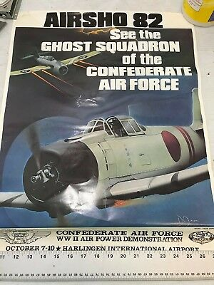 Confederate Air Force Poster Ghost Squadron CAF 1982 Airsho Flyer Air Fiesta RGV