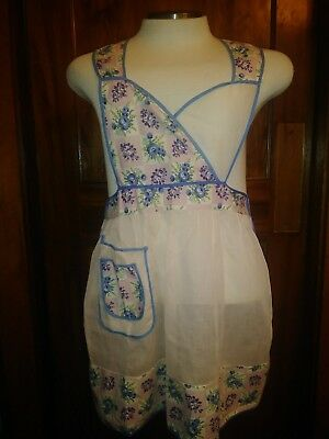 Vintage Sheer Light Pink Full Bib Apron With Pocket