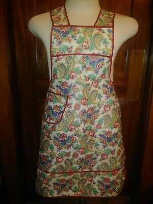 Vintage Paisley Flower Full Bib Apron With Pocket