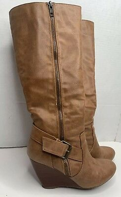 2b1a2c323a4 Nine West Brown Leather Knee High Boots Wedge Buckle Zip Up Heel Size 5 M  Clean
