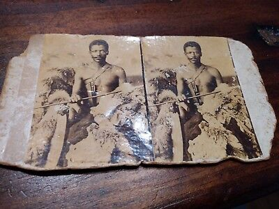 Old Stereoview of Armed African Tribesman / Warrior / no imprint