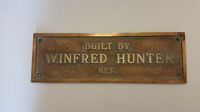 Built By Winfred Hunter 1952 Vintage Brass Rectangular Sign