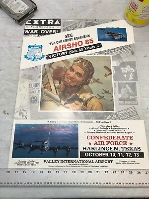 Confederate Air Force Poster Ghost Squadron CAF 1985 Airsho Flyer Air Fiesta RGV