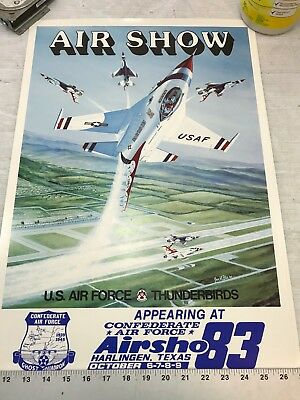 Confederate Air Force Poster Ghost Squadron CAF 1983 Airsho Flyer Air Fiesta RGV