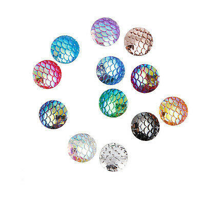 20/50/100X Multicolor Mermaid Fish Scale Cabochon Flat Back Resin Embellishments