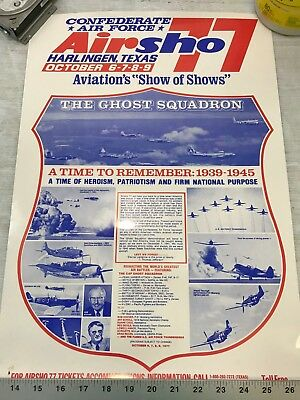 Confederate Air Force Poster Ghost Squadron CAF 1977 Airsho Flyer Air Fiesta RGV