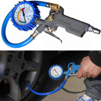 200 psi Tire Inflator with Air Pressure Gauge Pistol Chuck Flexible Hose
