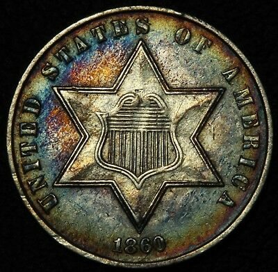 1860 Three Cent Silver Trime Piece - Beautiful w/ Toning!