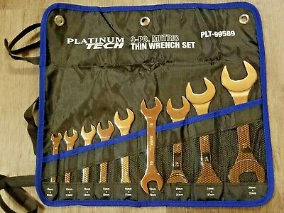 Platinum Tech 9pc METRIC Super Thin Open End Wrench Set 8-32mm Roll Pouch #99589