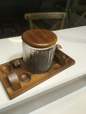 Vintage Walnut Wood 4 Tobacco Pipe Holder Display Stand Rack W/glass Jar And Lid