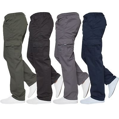 Mens Designer Chinos Cargo Combat Trousers Elasticated Pants All Waists (M-3XL)